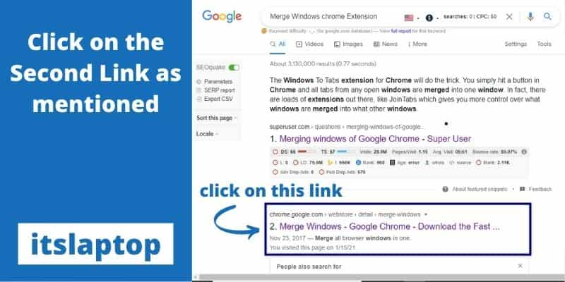 Merge Windows with chrome Extension