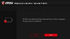 How to Reset MSI Laptop